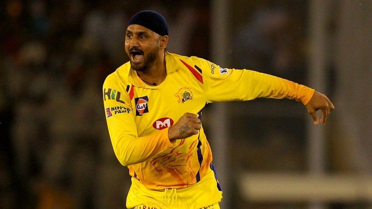 Harbhajan Singh celebrates a wicket for CSK.