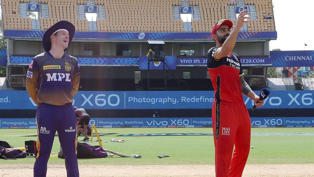 Eoin Morgan and Virat Kohli at the toss in Chennai.