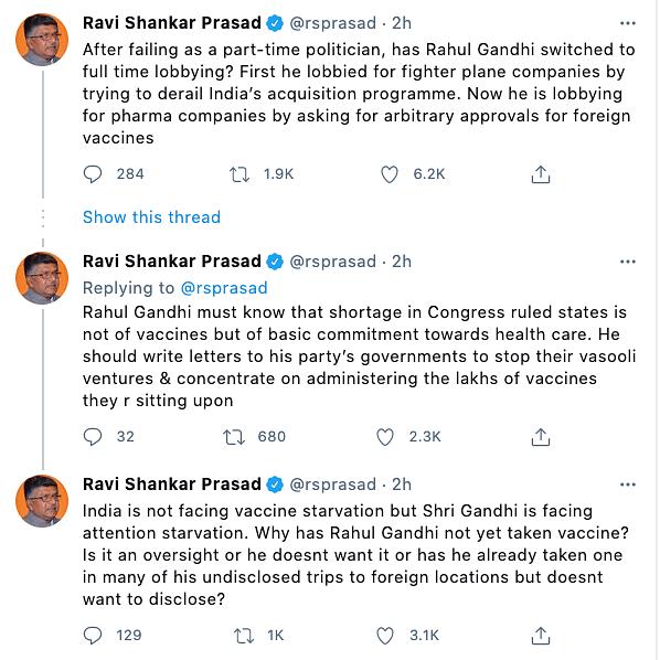 Union Minister, Ravi Shankar Prasad hit back at Rahul Gandhi, asking why he himself has not taken the COVID vaccine yet.