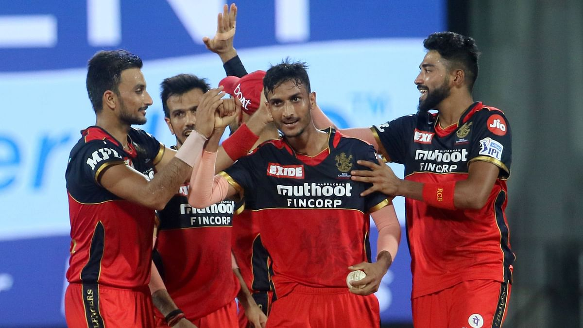 Shahbaz Ahmed celebrates a wicket during Royal Challengers Bangalore's match against Sunrisers Hyderabad.