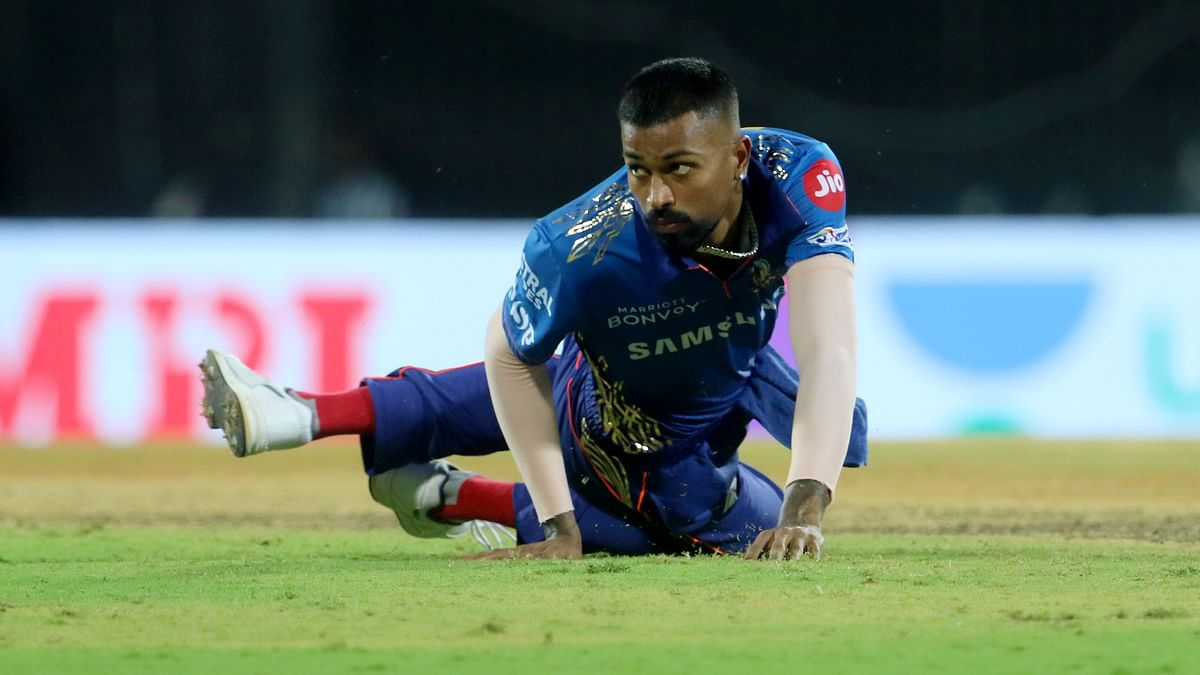 Hardik Pandya in action during IPL 2021.