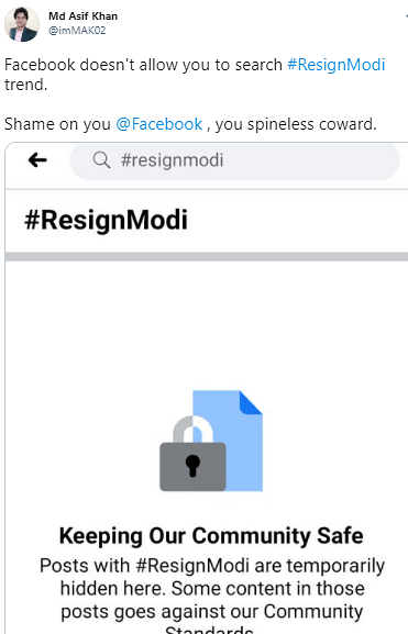 FB Receives Flak for Accidentally Blocking Posts With #ResignModi