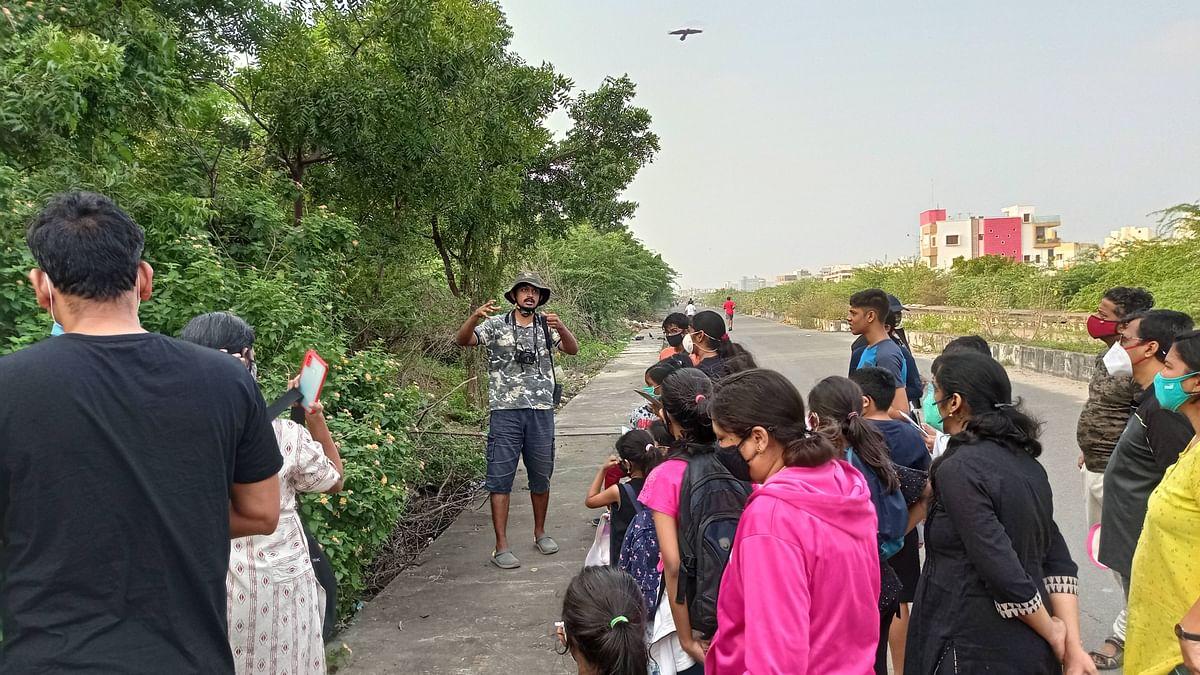 Yuvan Aves during an urban wilderness walk at Velachery.