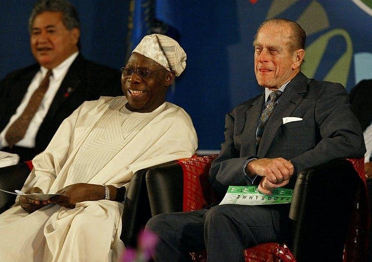 The Duke of Edinburgh with Nigeria's President Olusegun Obasanjo in 2003.