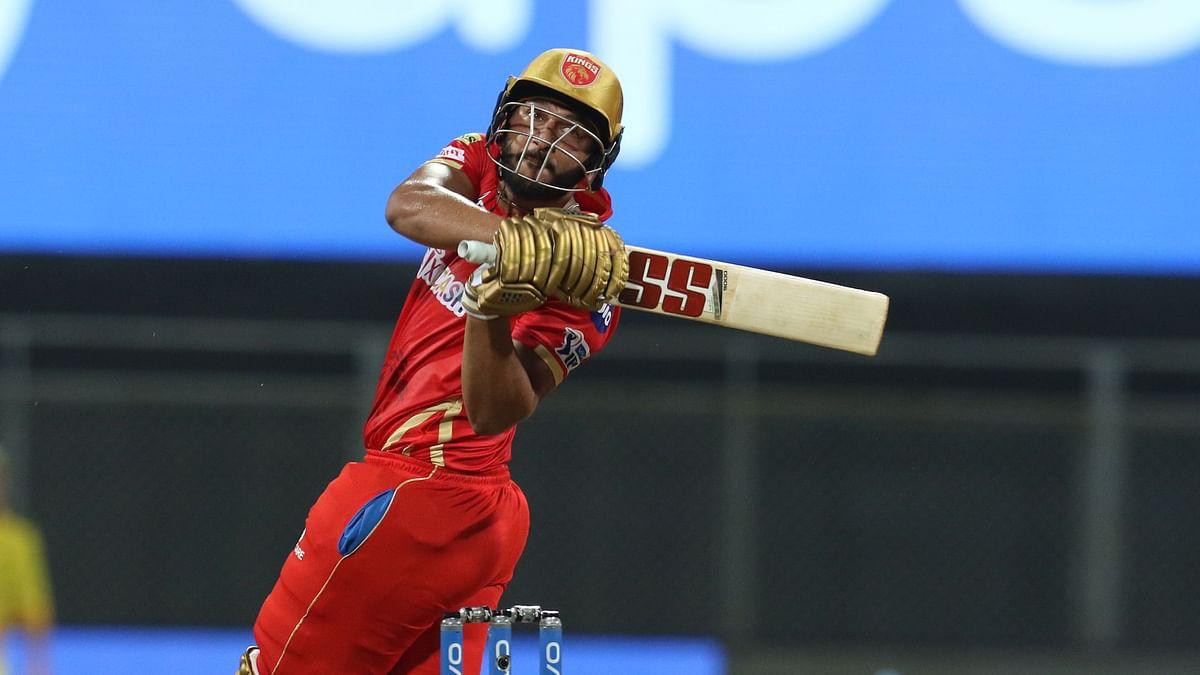 Shahrukh Khan of Punjab Kings bats during match 8 of the Vivo Indian Premier League 2021 between the Punjab Kings