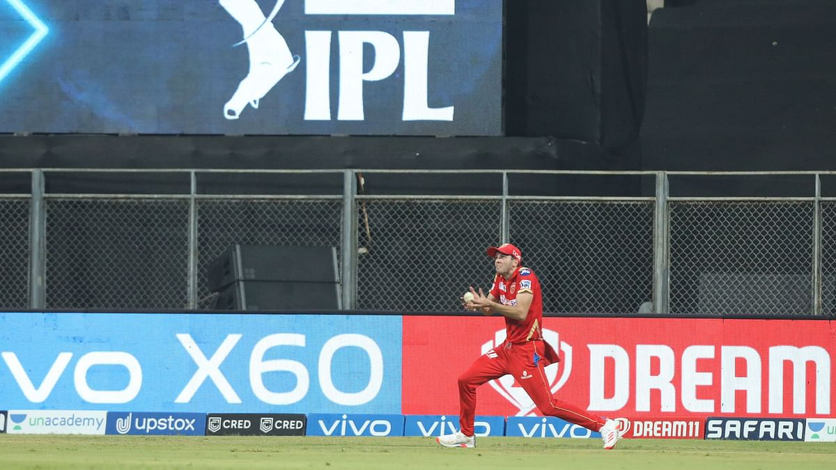Jhye Richardson of Punjab Kings take the catch of Steve Smith of Delhi Capitals during match 11 of the Vivo Indian Premier League 2021.