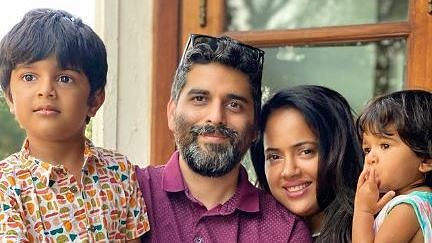 """<div class=""""paragraphs""""><p>Sameera Reddy with her family</p></div>"""