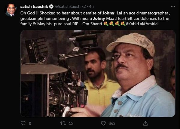 Cinematographer Johny Lal Dies of COVID Complications