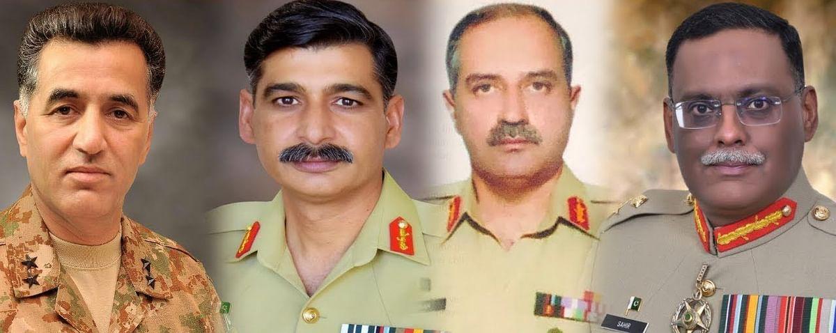 (L to R) Lt Gen Faiz Hameed, Lt Gen Nauman Mahmood, Lt Gen Azhar Abbas and Lt Gen Sahir Shamshad Mirza