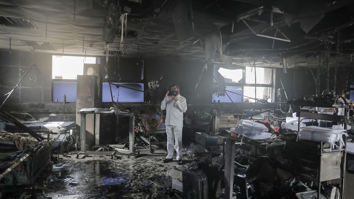 The charred ICU unit of the Vijay Vallabh Hospital in Virar which caught fire due to a malfunctioning AC unit.