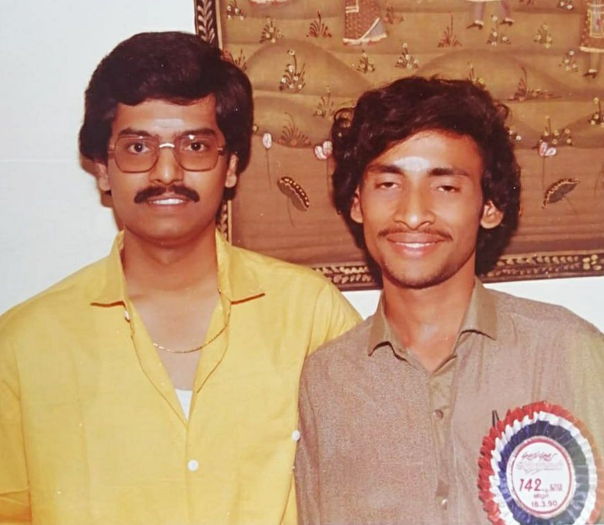 Actor Vivek with Kavidalaya Mohan, who was veteran director K Balachander's confidante (Photo taken in 1989).
