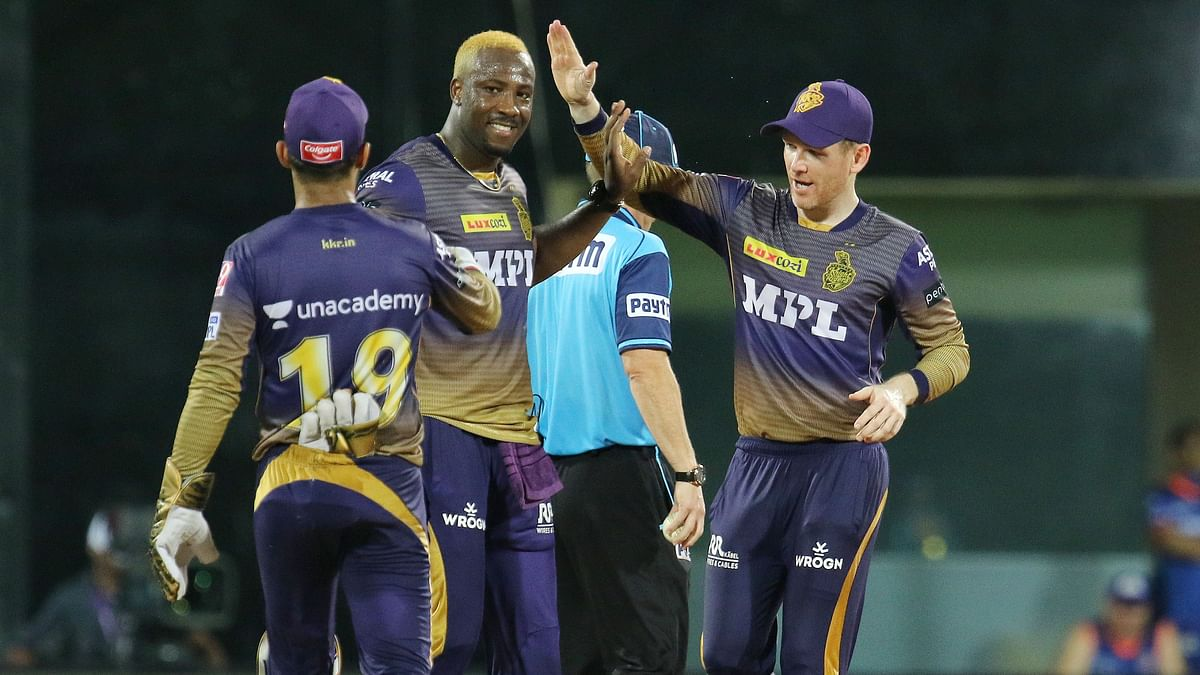 KKR celebrate a Mumbai Indians wicket in Chennai.
