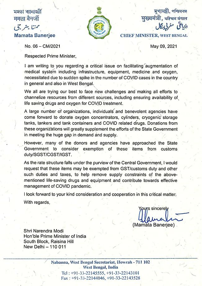 This is Chief Minister Banerjee's third letter to PM Modi on the Covid crisis