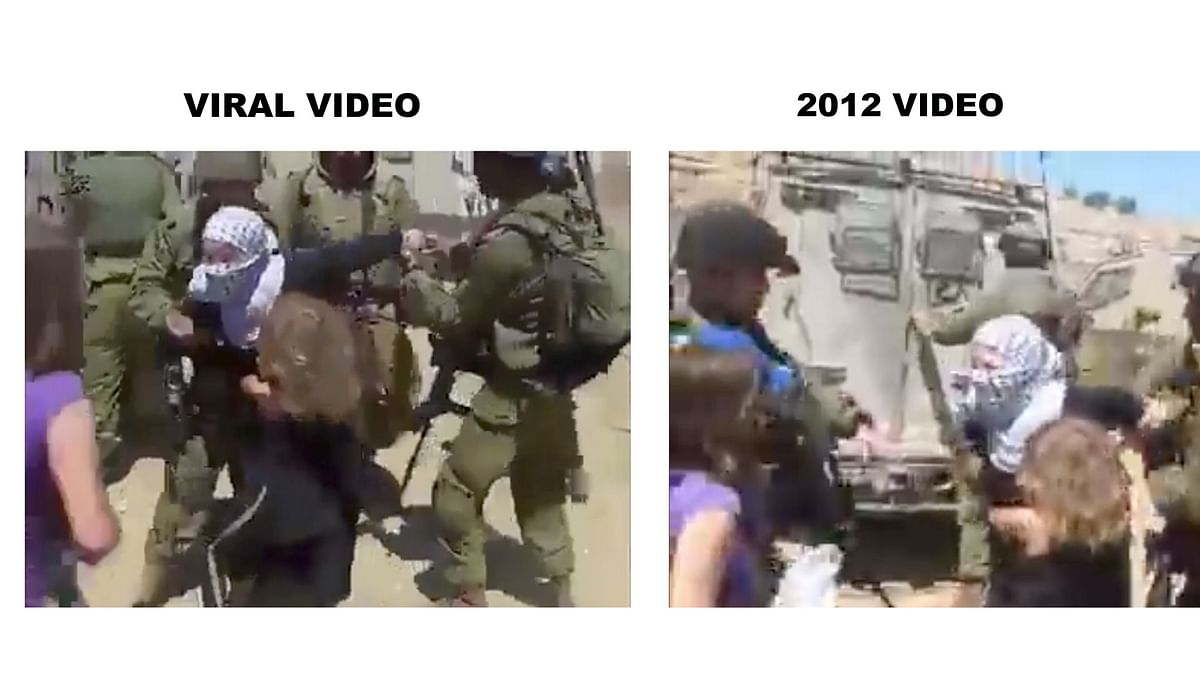 Screenshots from the video from the report (left) and the video received for verification (right) show the same visuals from slightly different angles.
