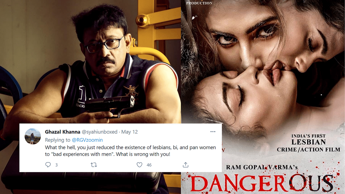 """<div class=""""paragraphs""""><p>Twitter Is Unamused As RGV Releases Poster of 'Dangerous'</p></div>"""