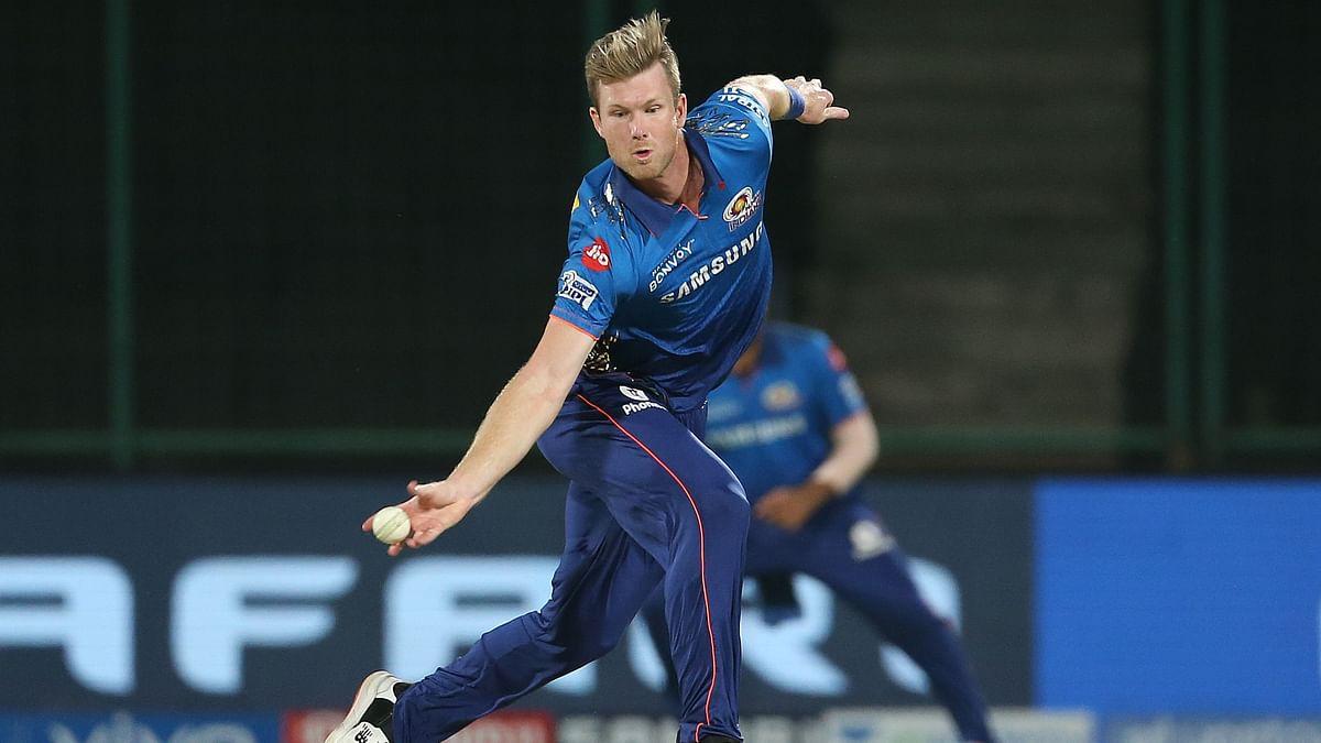 Mumbai Indians' Jimmy Neesham in action during IPL 2021