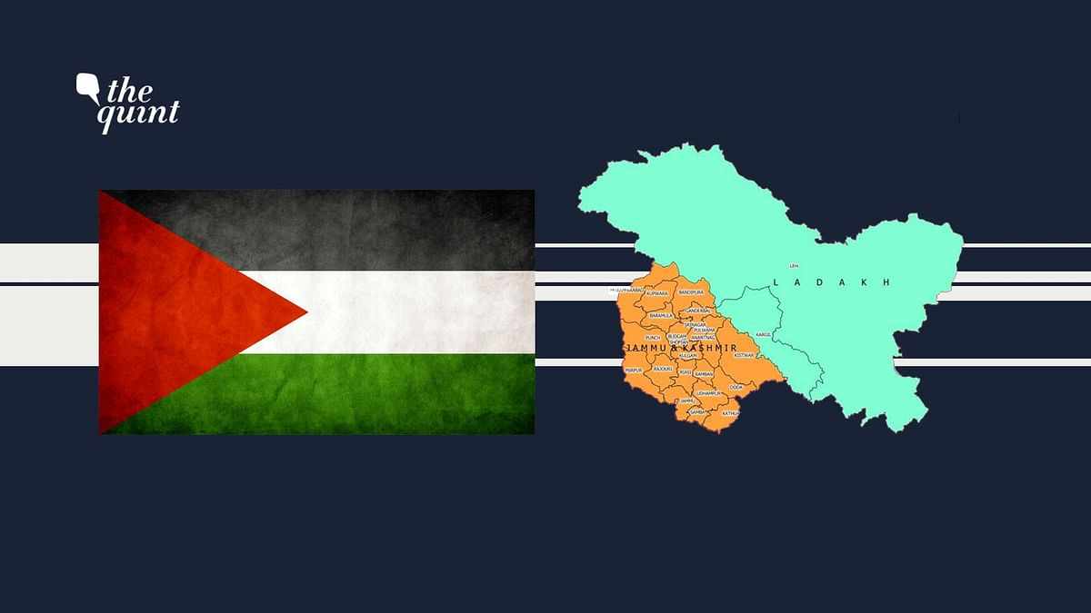 Flag of Palestine (L) and J&K's new map (post-abrogation of Article 370) (R) used for representational purposes.