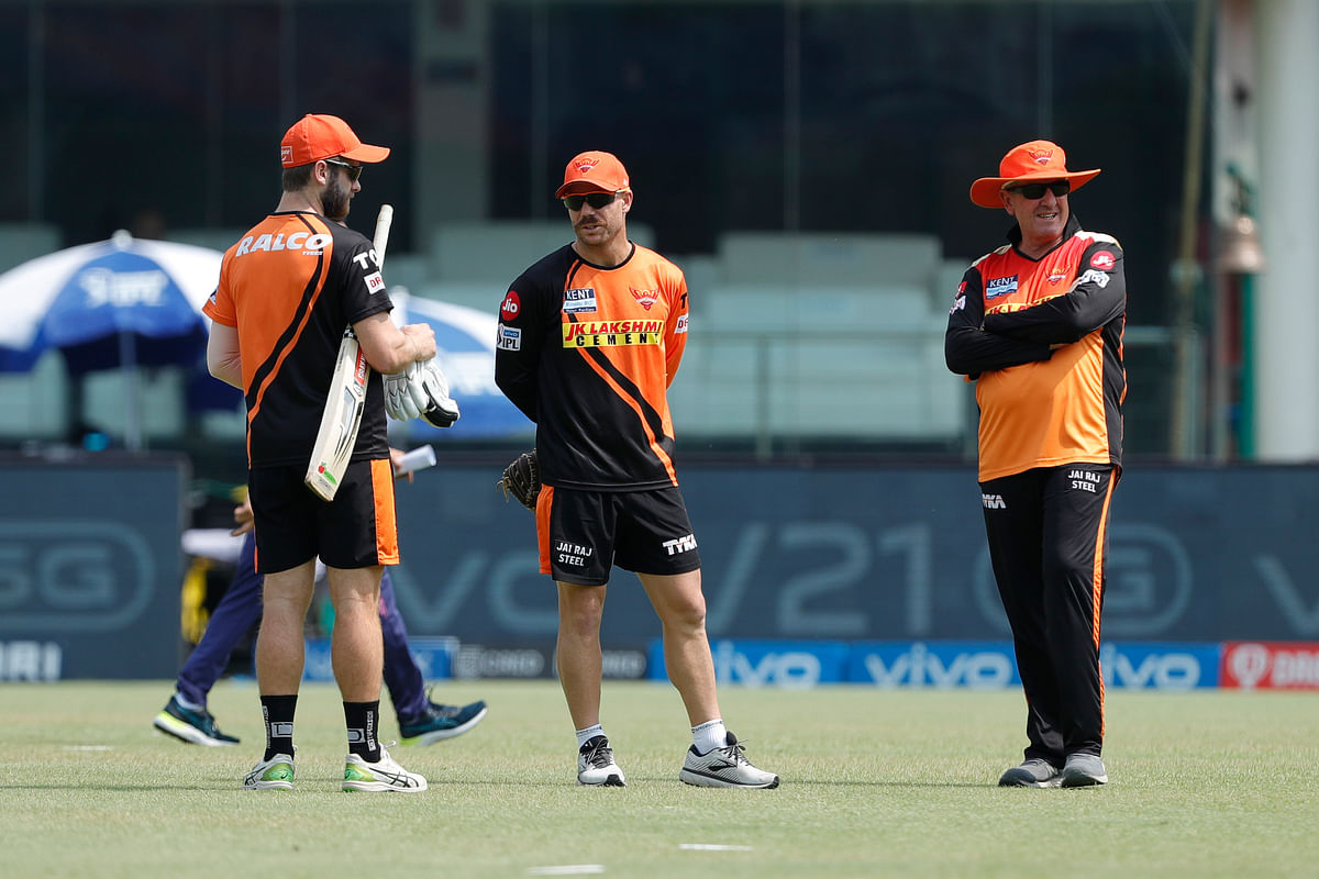 David Warner of Sunrisers Hyderabad with Kane Williamson of Sunrisers Hyderabad ahead of match 28 of the Vivo Indian Premier League between the Rajasthan Royals and the Sunrisers Hyderabad.