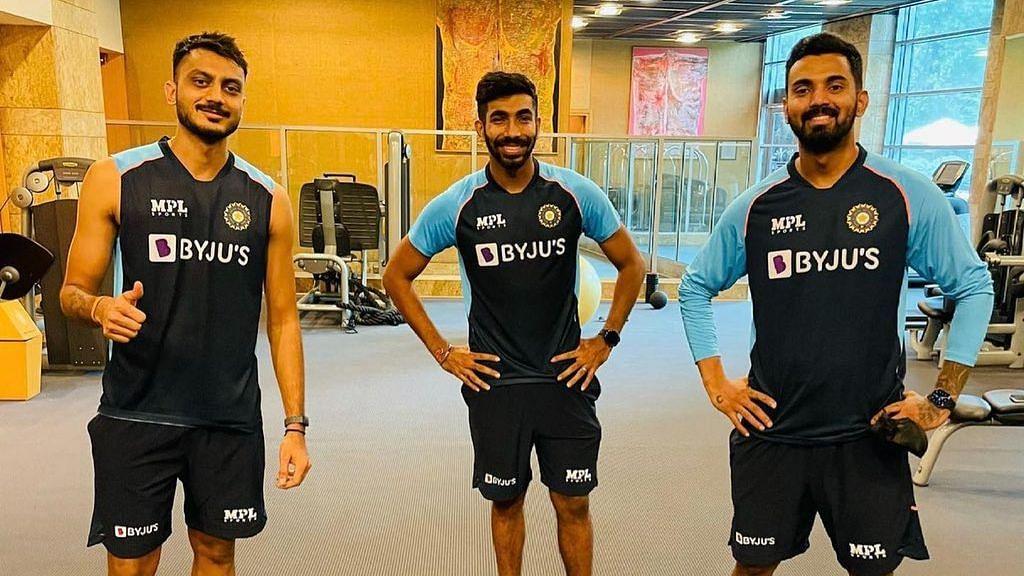 Jasprit Bumrah, KL Rahul and Akshar Patel in the gym.