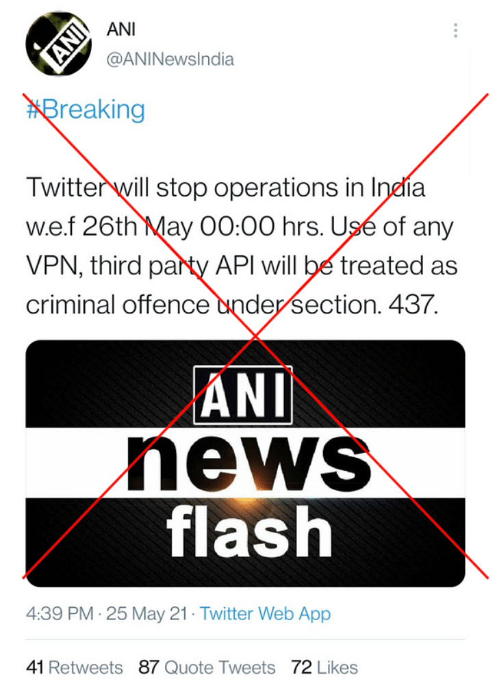 Users Fall for ANI's Fake Account Saying Twitter Shutting in India