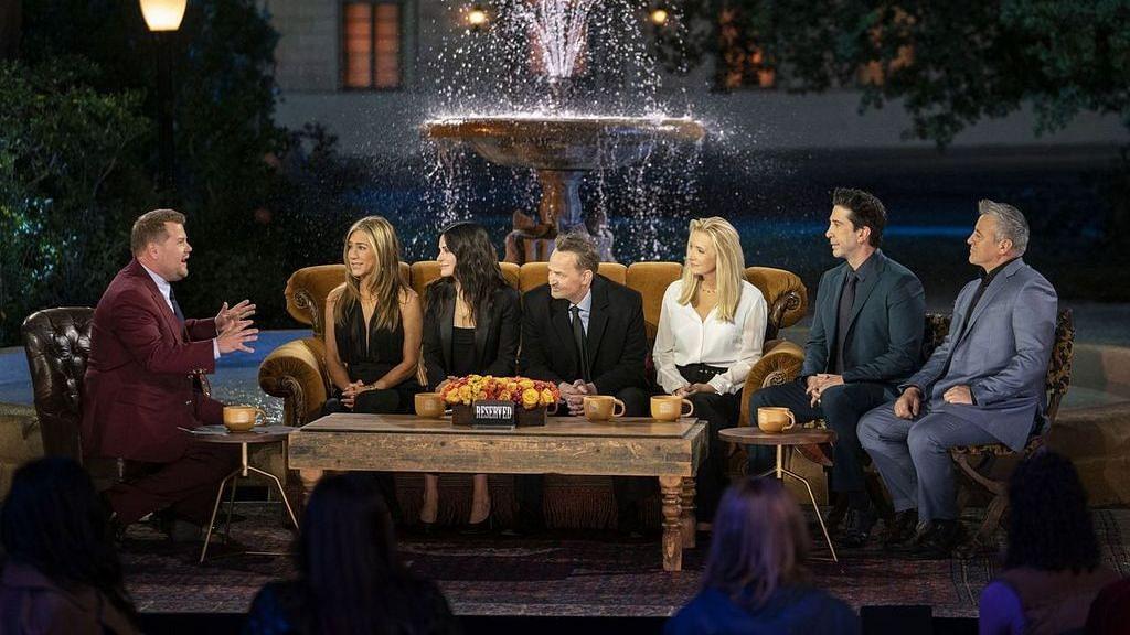 "<div class=""paragraphs""><p>The cast of 'Friends' with talk show host James Corden during 'Friends: The Reunion'</p></div>"