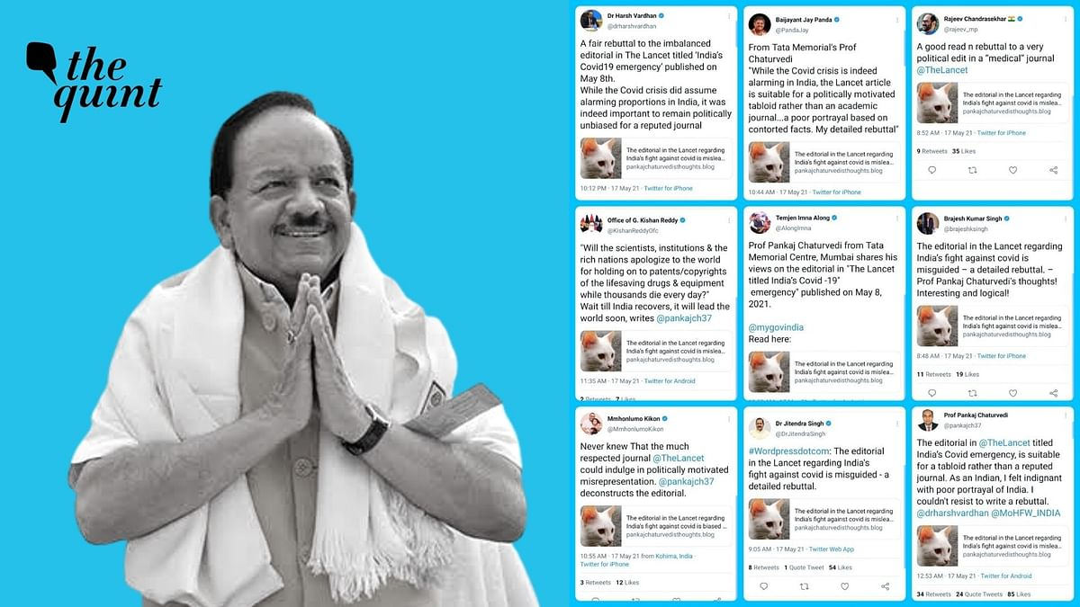 Dr Harsh Vardhan along with several other BJP leaders criticised for sharing a 'not so sensible' blog rebutting Lancet's editorial on India's COVID management.