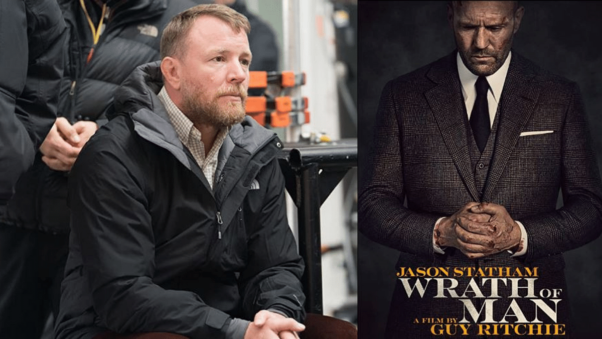"""<div class=""""paragraphs""""><p>Director Guy Ritchie; poster of 'Wrath of Man'</p></div>"""