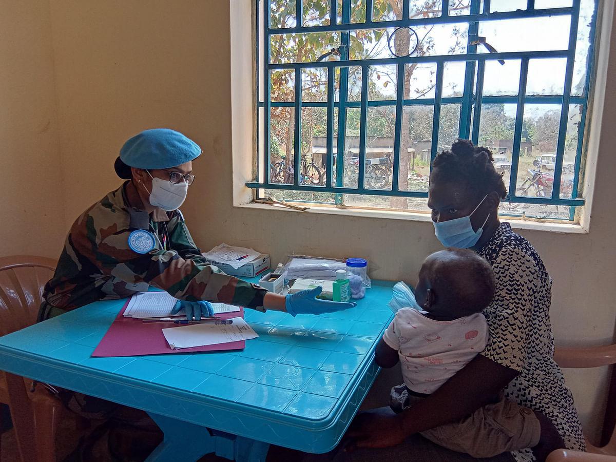 Major Rohini (L) at work in South Sudan.