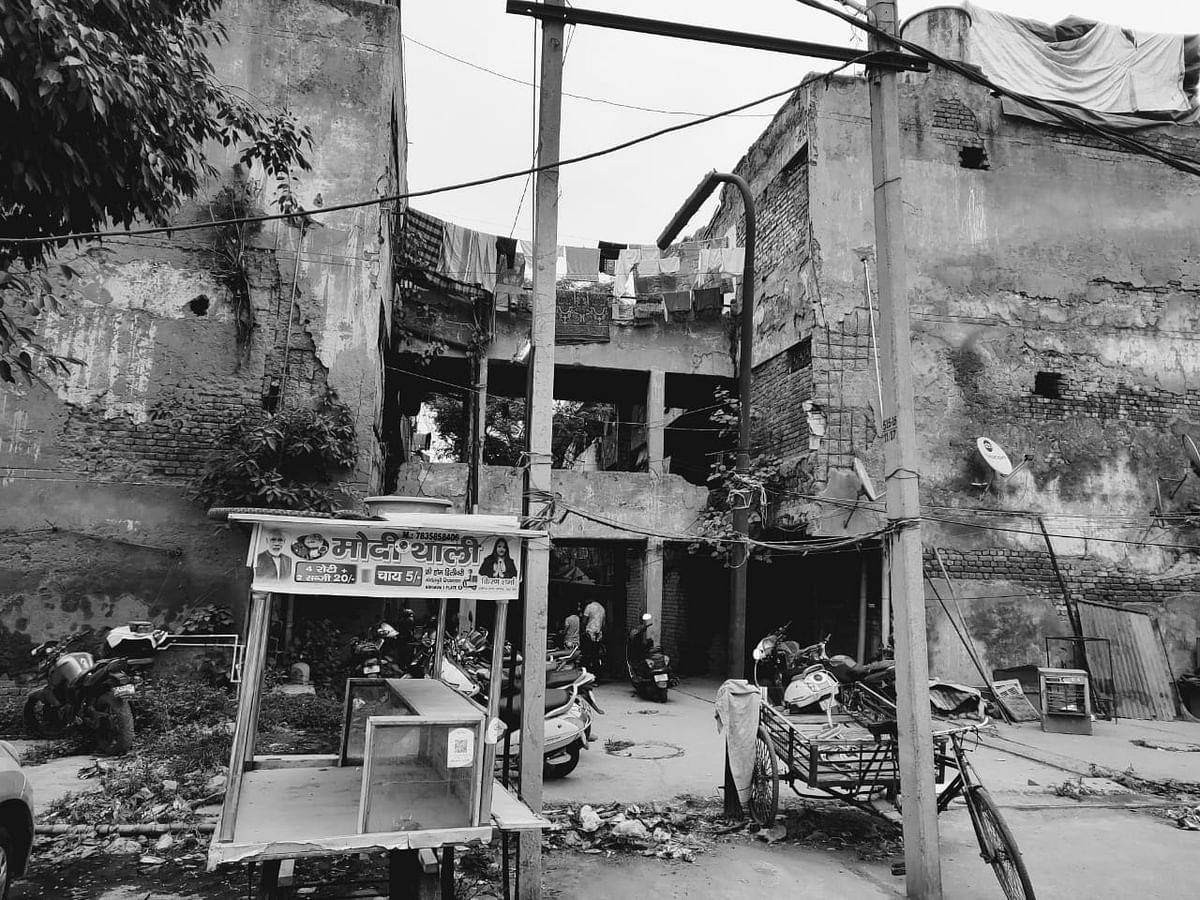 """This is where Rajesh Sharma and his family live. """"It feels like our walls can come crumbling down at any time. Sometimes the walls and bricks just fall as well,"""" his daughter says."""