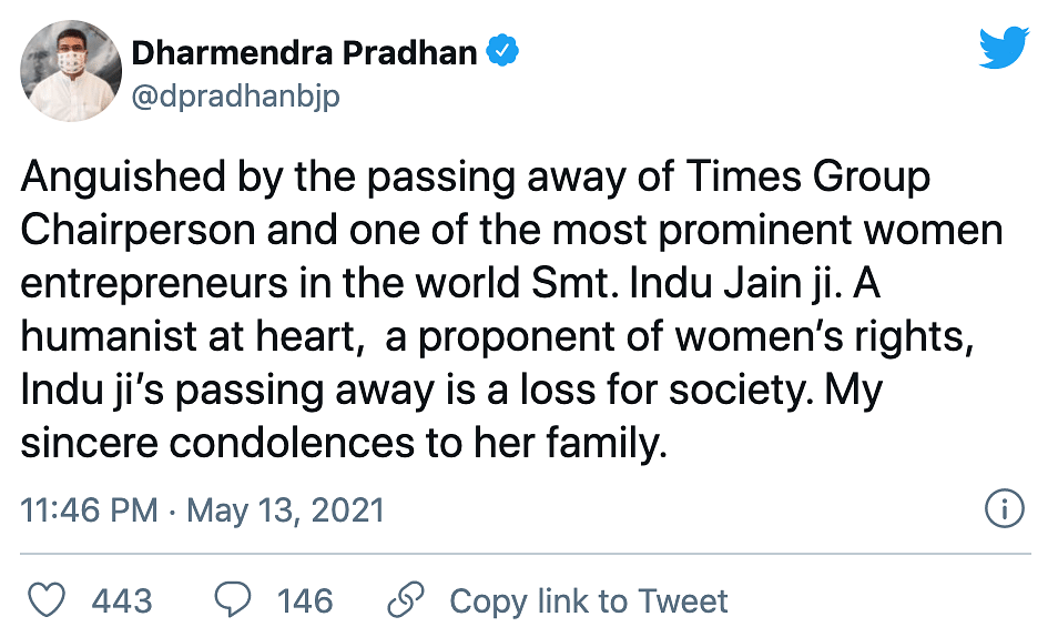 Times Group Chairperson Indu Jain Passes Away, Tributes Pour In