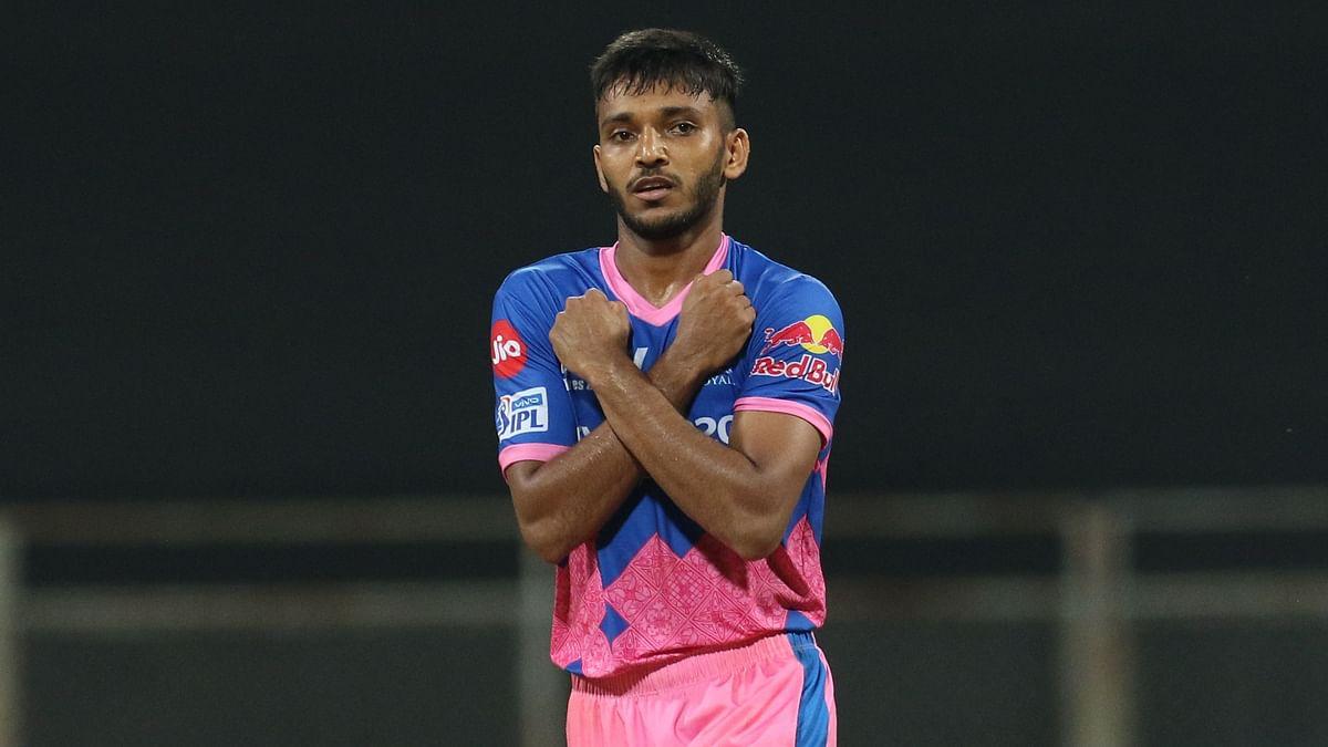 Chetan Sakariya celebrates a wicket for Rajasthan Royals.
