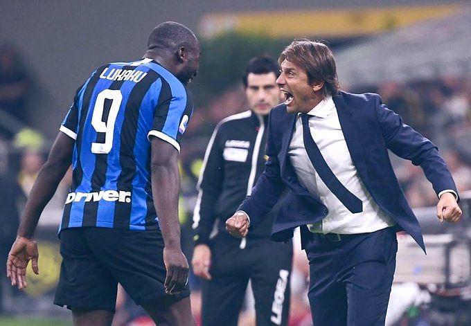 Romelu Lukaku and Antonio Conte in celebratory mood.
