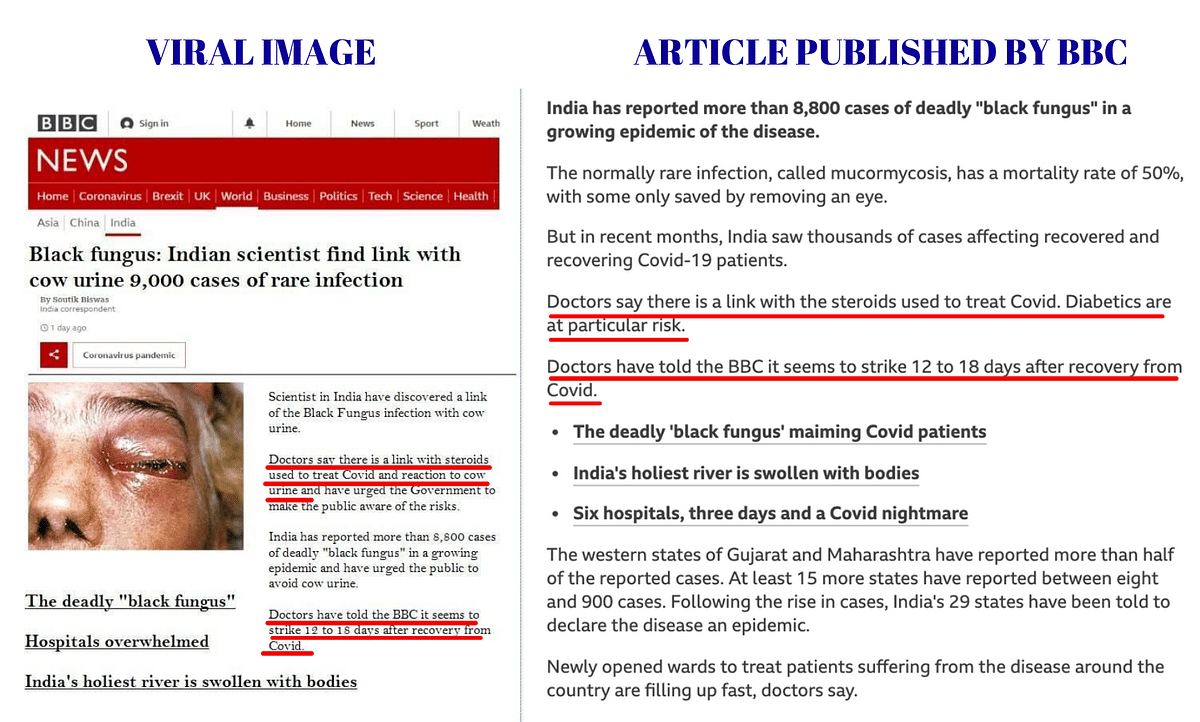 Left: Viral screenshot. Right: Article published by BBC.