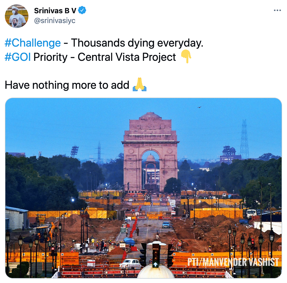Twitter Reacts to Central Vista as COVID Claims Lives Across India