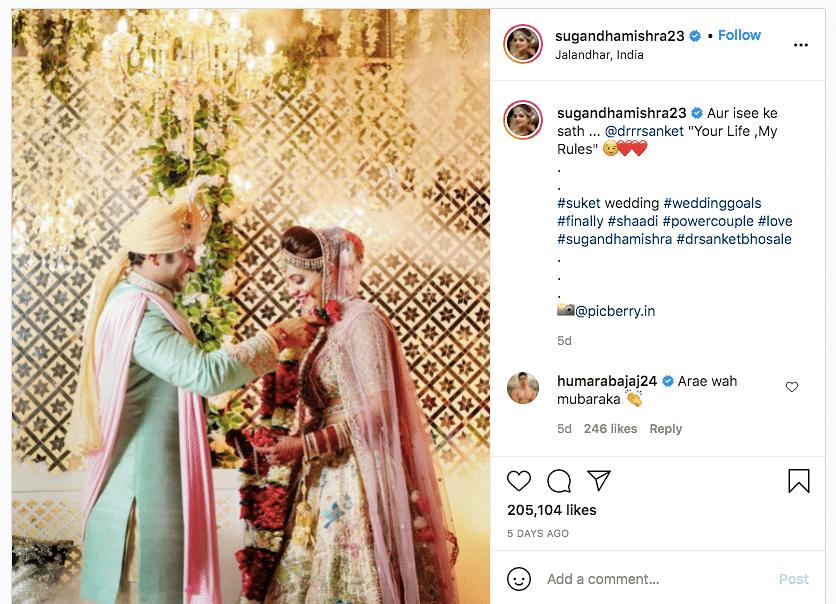 Sugandha Mishra Shares Pics From Her & Sanket Bhosale's Wedding