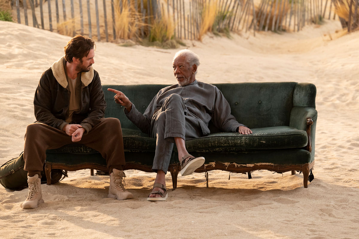 """<div class=""""paragraphs""""><p>Morgan Freeman in a still from Solos.</p></div>"""