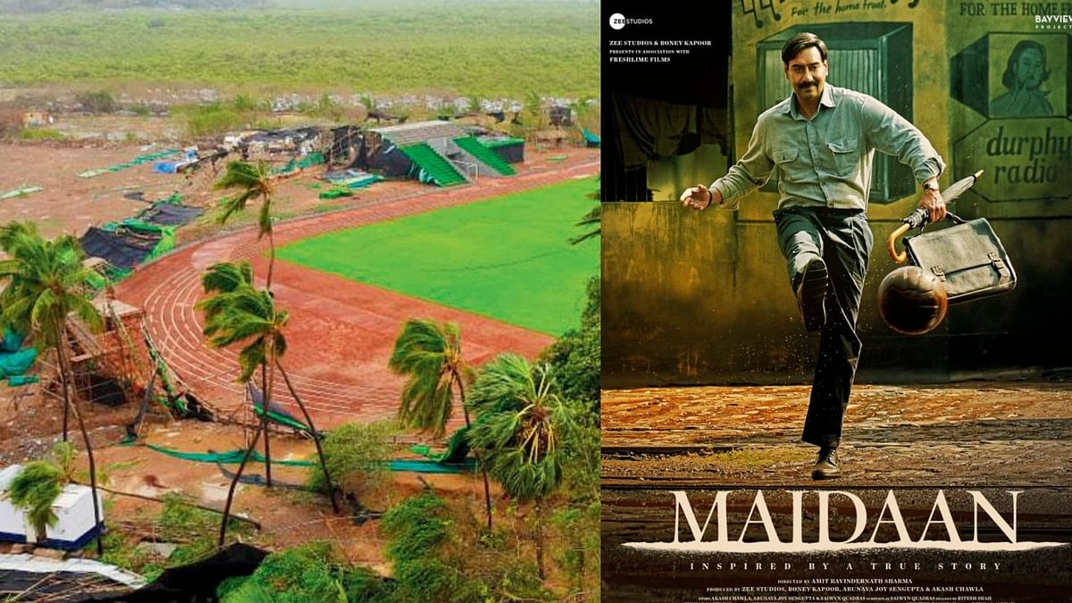 """<div class=""""paragraphs""""><p>Ajay Devgn-starrer <em>Maidaan</em>'s set was completely destroyed by cyclone Tauktae.&nbsp;</p></div>"""