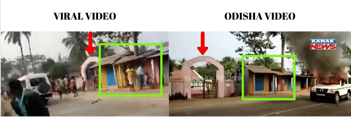 Left: Viral video. Right: Odisha video uploaded by Kanak News.