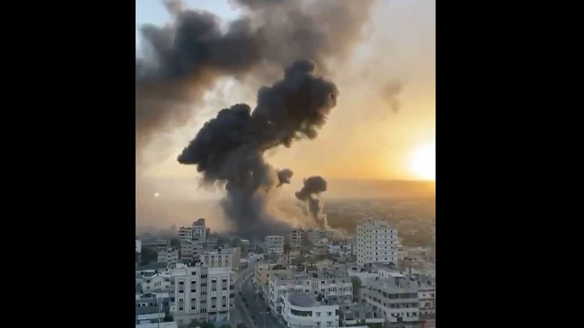 In another inhumane attack on Palestinians, a 12-story Gaza tower block house was struck by Israeli missiles on Saturday, 15 May.