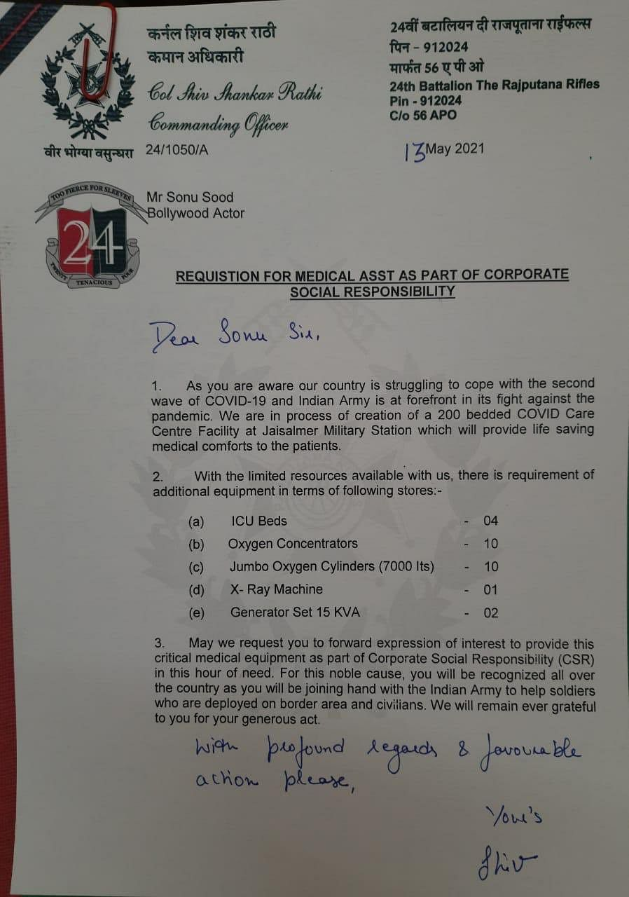 """<div class=""""paragraphs""""><p>CO writes to Sonu Sood asking for COVID-19 resources.</p></div>"""