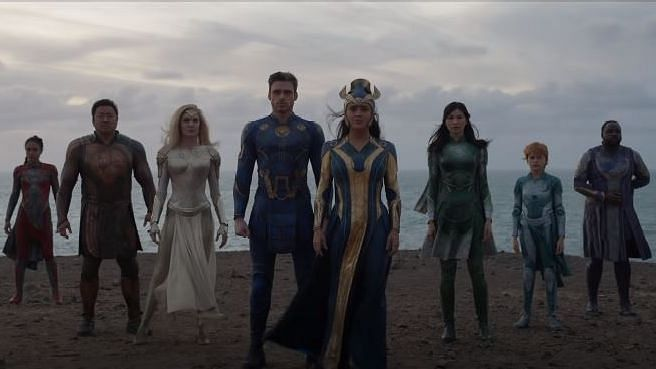 """<div class=""""paragraphs""""><p>The Marvel Studios' Eternals directed by Chloe Zhao stars Angelina Jolie, Salma Hayek among others</p></div>"""
