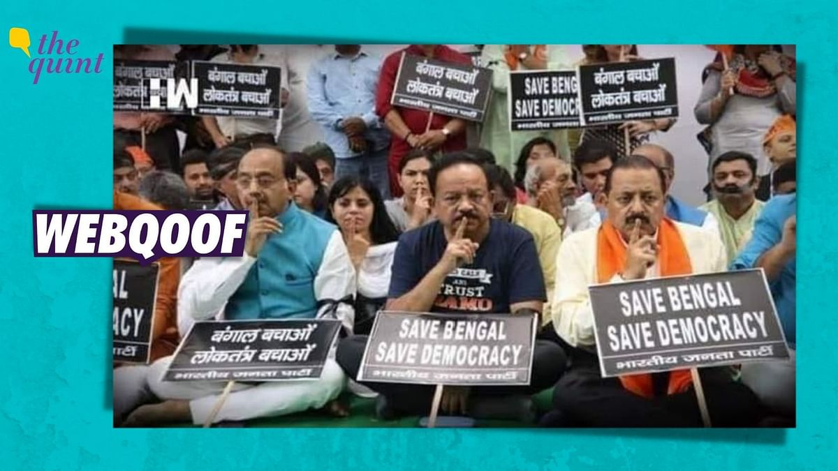 Not a Recent Image of Harsh Vardhan Protesting Against WB Violence