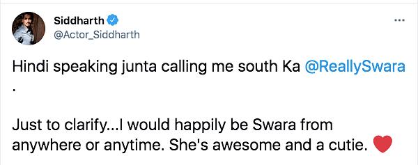 Swara Reacts to Siddharth Being Called 'South Ka Swara Bhasker'
