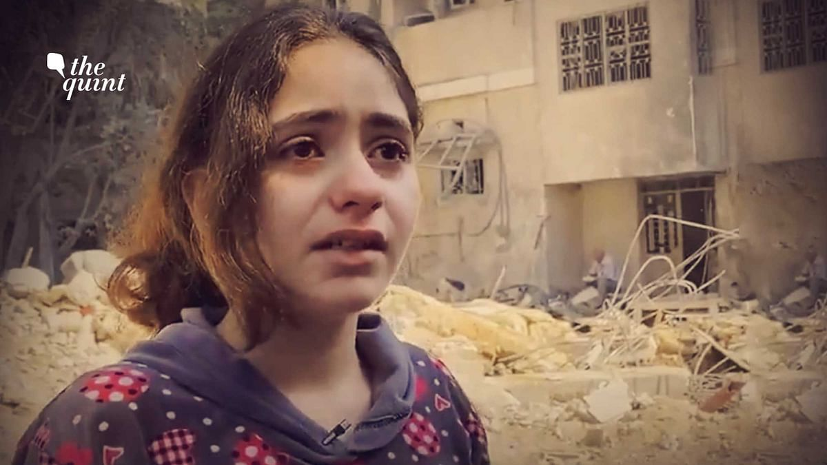 10-year-old Palestinian girl breaks down after Israeli air strikes destroyed her neighbour's house
