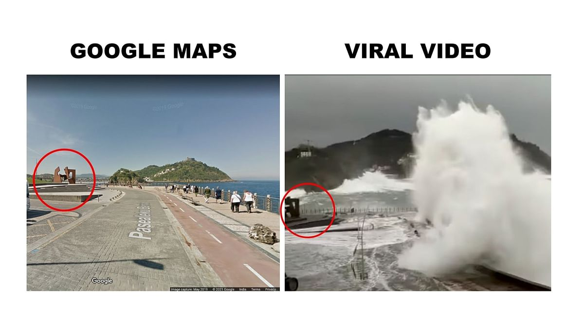 Left: Street view on Google Maps. Right: Viral video.