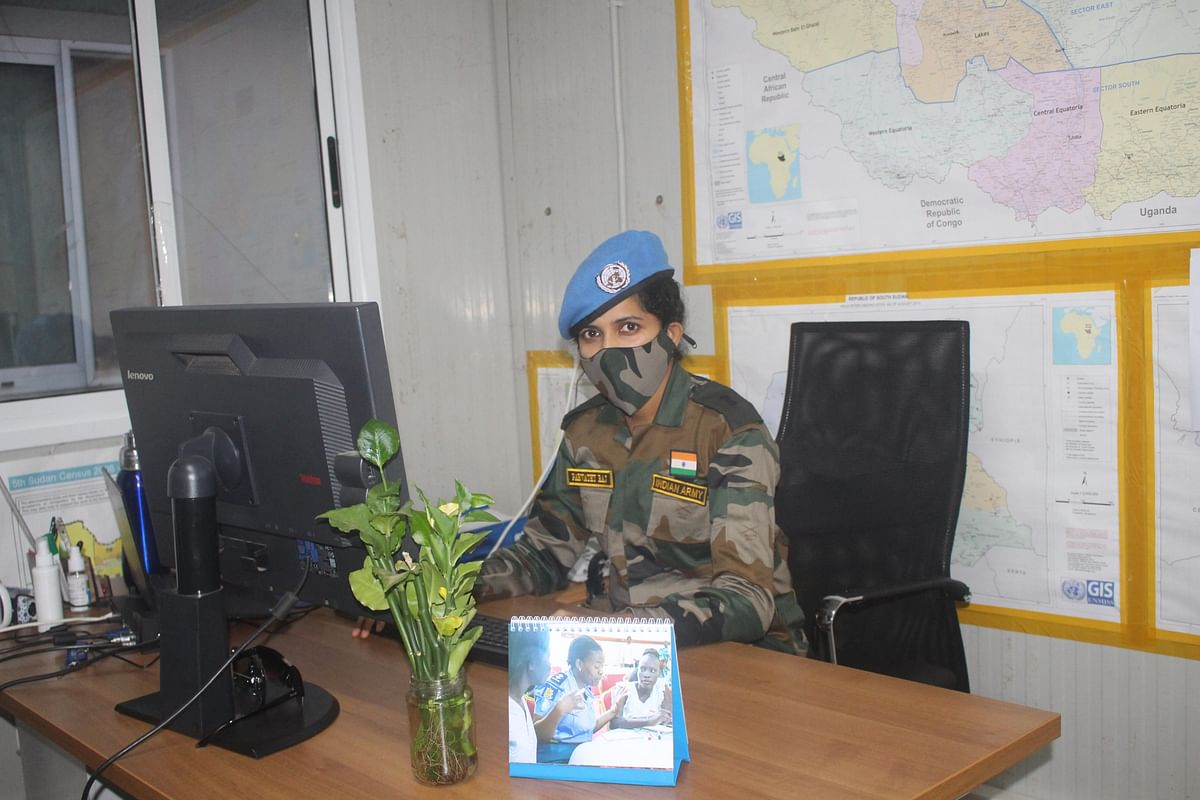 Major Parvathy in her office in the state of Lakes, South Sudan.