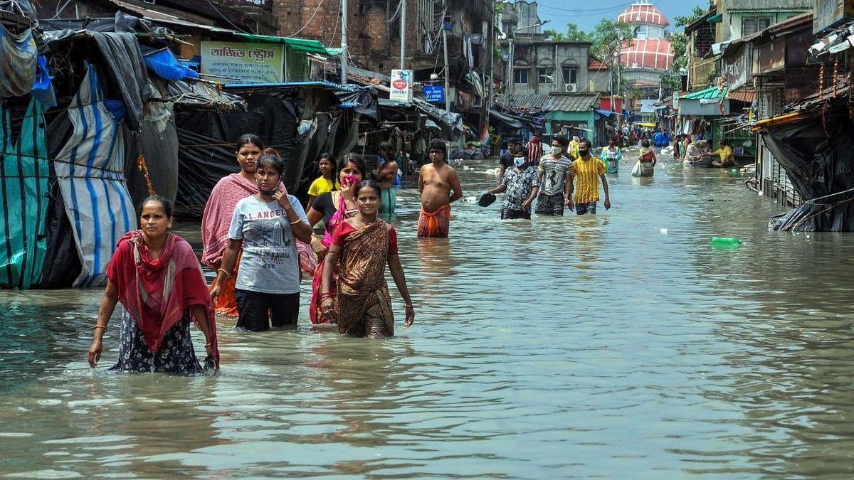 Waterlogged road outside Kakdwip Hospital after the landfall of Cyclone Yaas.