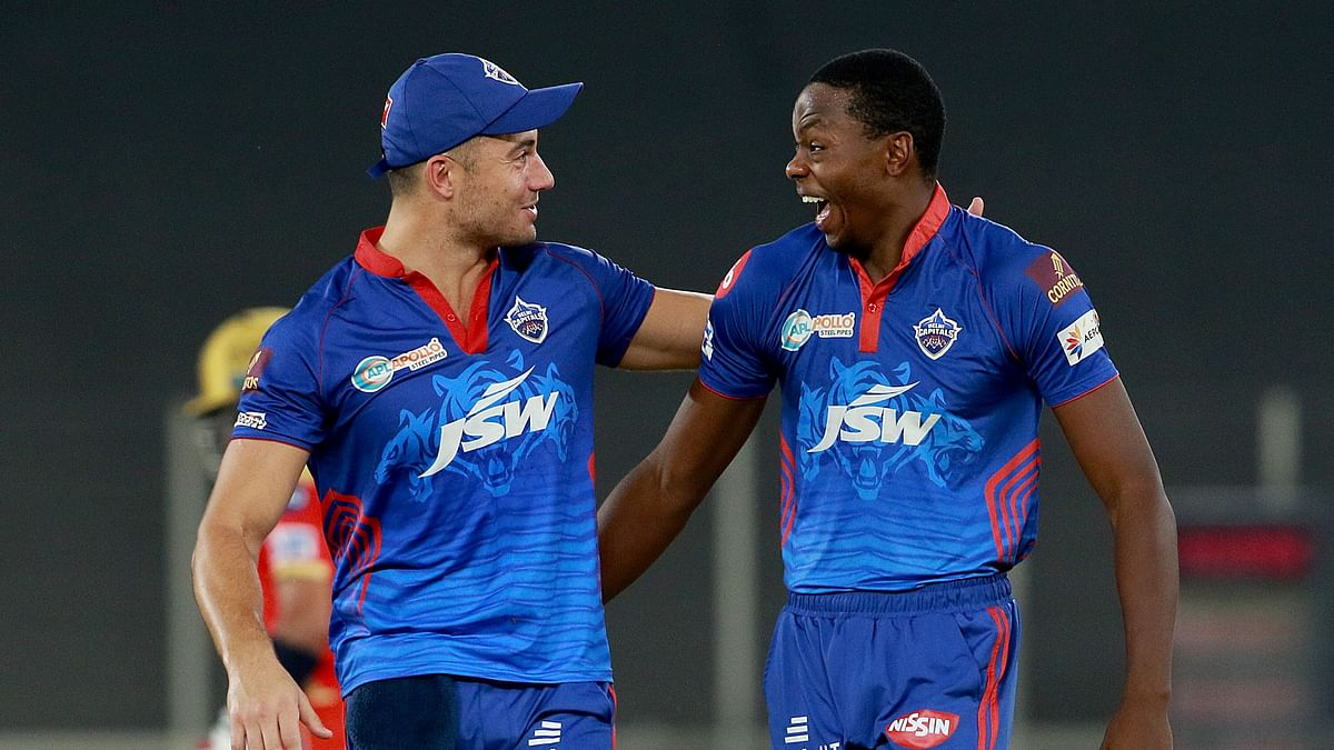 Kagiso Rabada of Delhi Capitals celebrates after takes a wicket of Prabhsimran Singh.