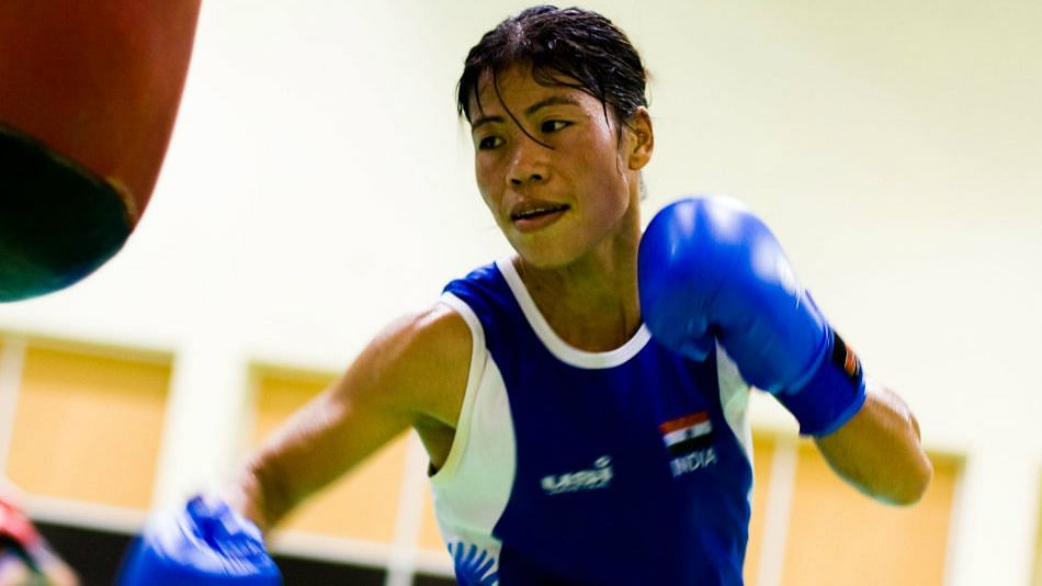 Marykom in action at training.