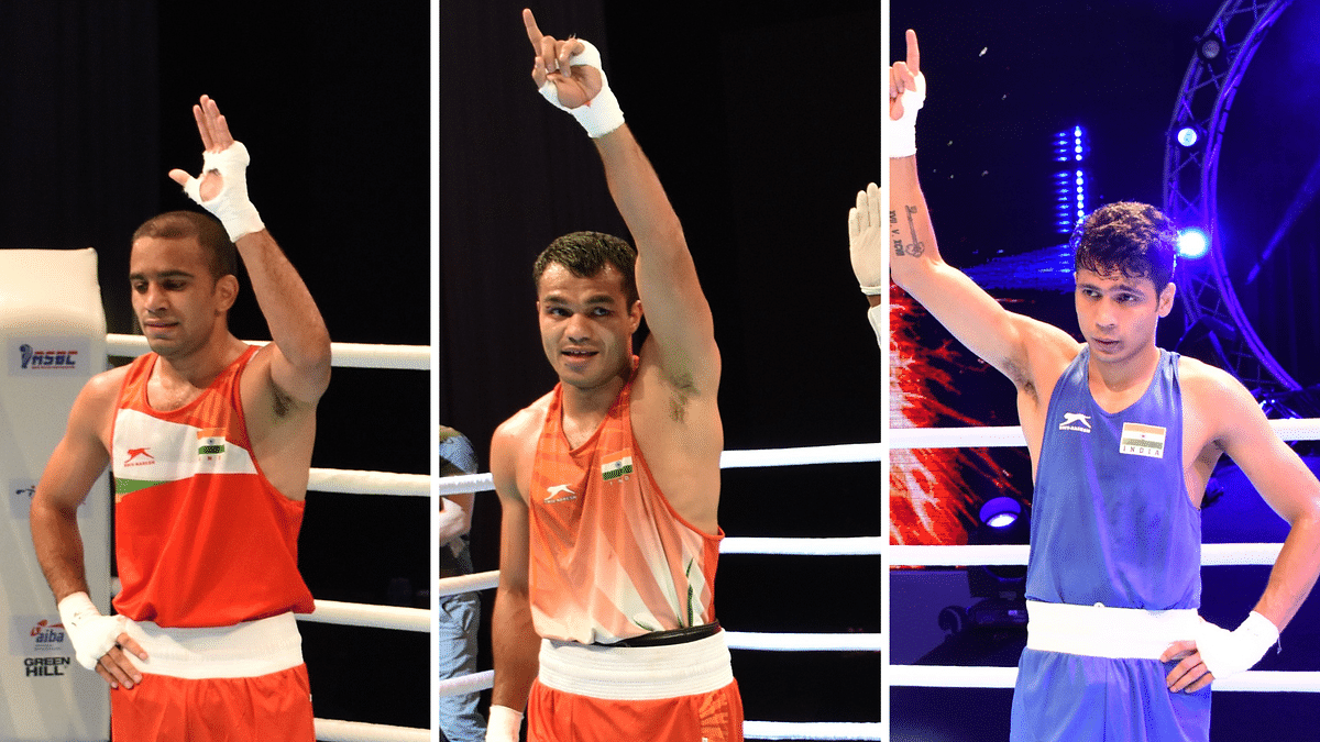 Amit Panghal, Vikas Krishan and debutant Varinder Singh qualified for the semi-finals of the Asian Boxing Championships on Thursday.